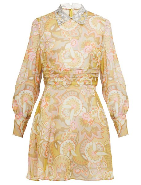 Miu Miu floral print crystal collar georgette mini dress in yellow multi