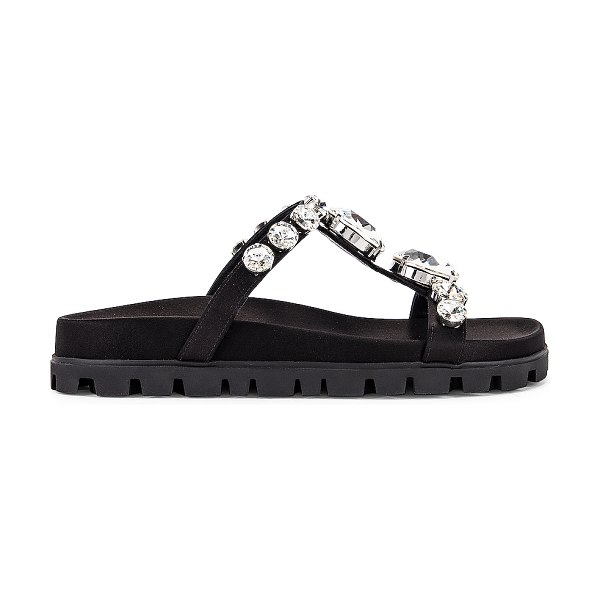 Miu Miu jewel slides in black