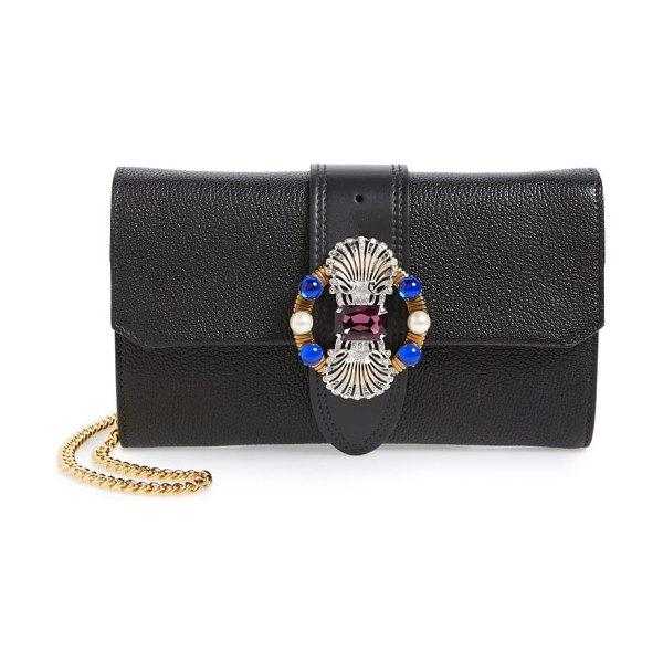 Miu Miu madras convertible leather clutch in nero