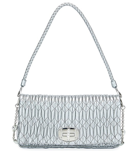 Miu Miu Metallic Matelasse Leather Medium Shoulder Bag w/ Crystal Lock in silver - Miu Miu shoulder bag in matelass metallic napa leather....