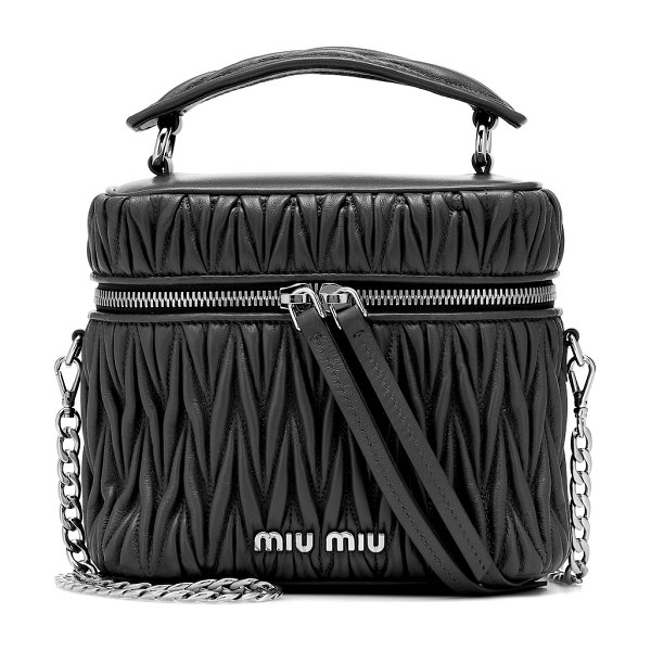 Miu Miu mini matelassé leather tote in black