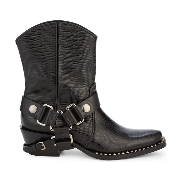 Miu Miu Nero Studded Leather Moto Booties in black