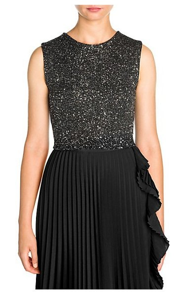 Miu Miu paiette wool-blend embellished crop top in black - Crafted in a luxe wool blend, this delicate cropped top...