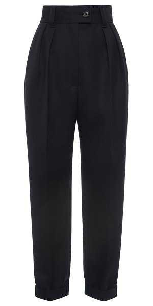 Miu Miu pleated wool cropped straight-leg trousers in black