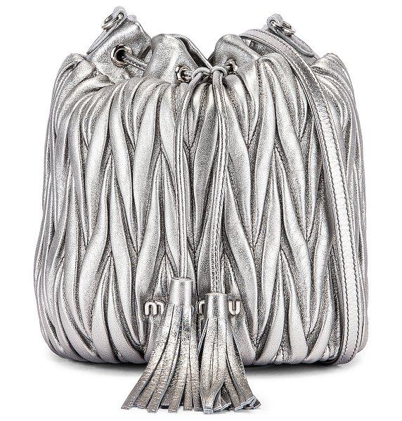 Miu Miu quilted bucket bag in cromo