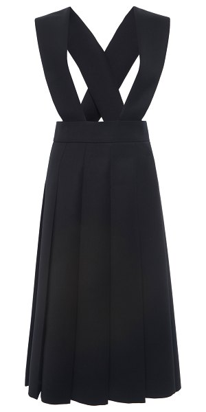 Miu Miu racerback pleated wool dress in black