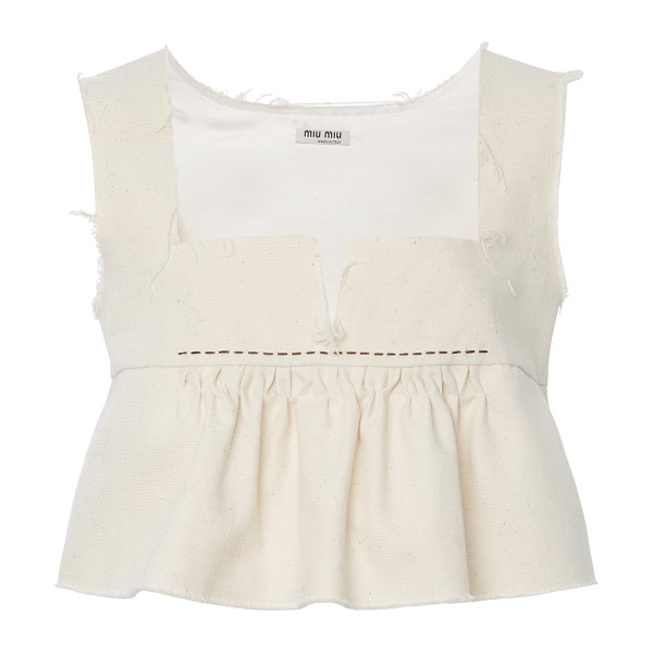 Miu Miu ruffled cotton cropped top in white