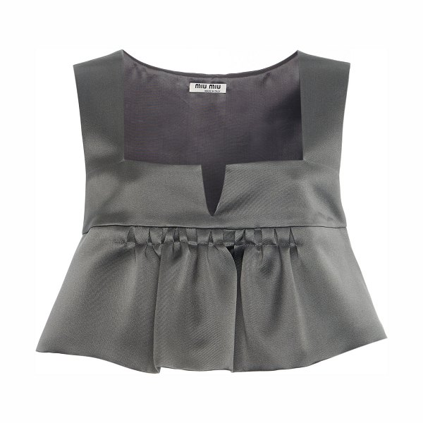 Miu Miu ruffled silk satin cropped top in grey