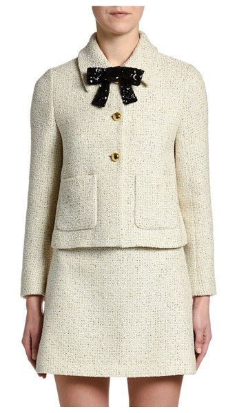 Miu Miu Sequin-Bow Neck Tweed Jacket in ivory