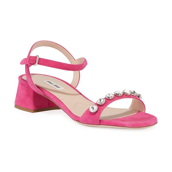 Miu Miu Suede Ankle-Strap Sandals with Crystals in pink