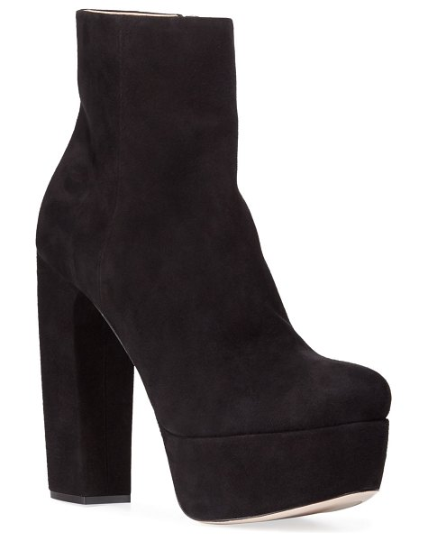 Miu Miu Suede Block-Heel Platform Booties in black