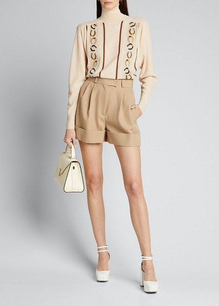 Miu Miu Wool Cuffed Shorts in light beige