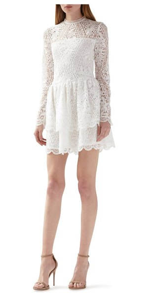 ML Monique Lhuillier Bridesmaids long sleeve lace minidress in white
