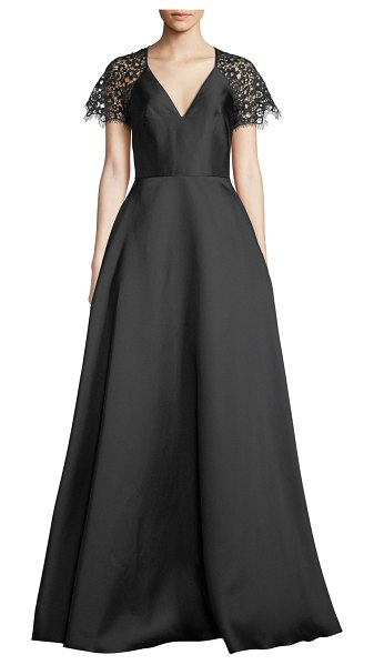 ML Monique Lhuillier Bridesmaids V-Neck Ball Gown w/ Lace Sleeves in black