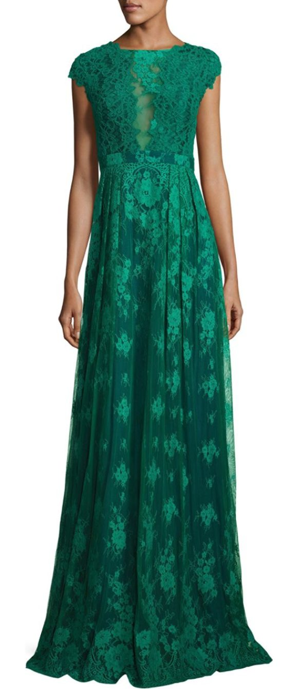 ML MONIQUE LHUILLIER BRIDESMAIDS Open-Back Lace Gown | Shopstasy