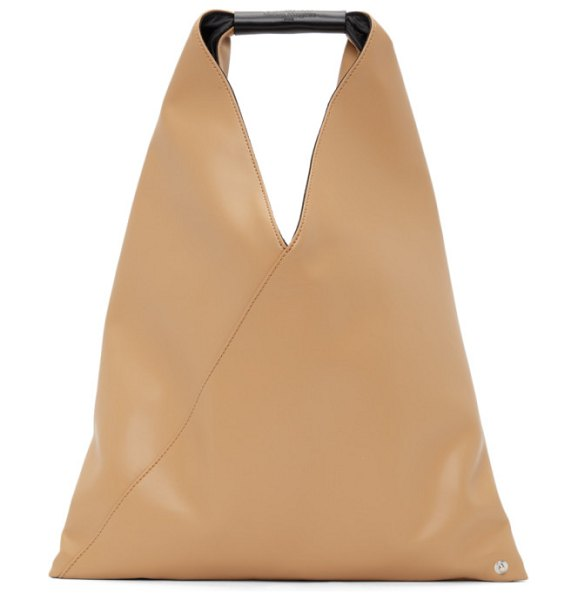 MM6 Maison Margiela beige faux-leather small triangle tote in h8671 camel