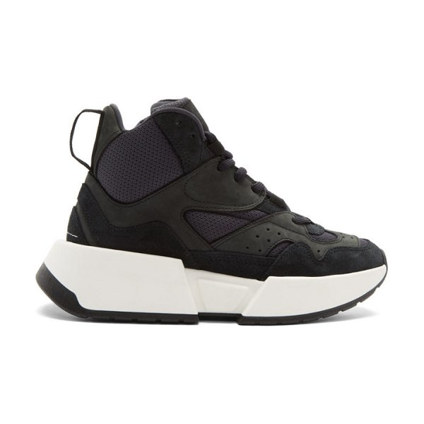 MM6 Maison Margiela black high-top chunky sneakers in t8013 black