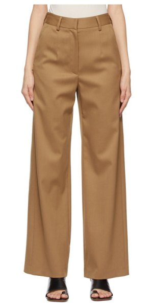 MM6 Maison Margiela brown pleated trousers in 132 nude