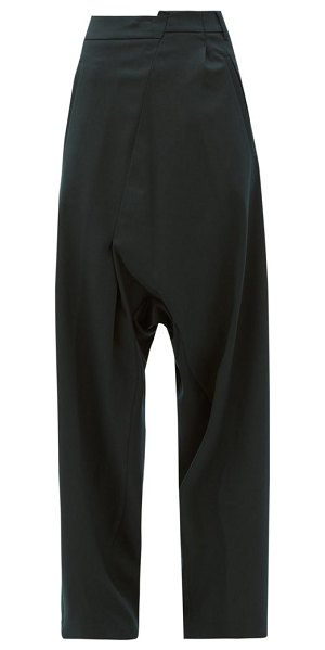 MM6 Maison Margiela deconstructed high-rise trousers in dark green