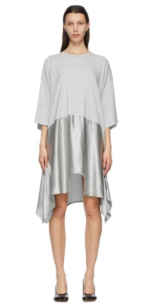 MM6 Maison Margiela grey duel tee dress in 858 grey