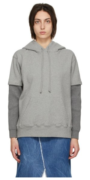 MM6 Maison Margiela grey layered hoodie in 851m grey