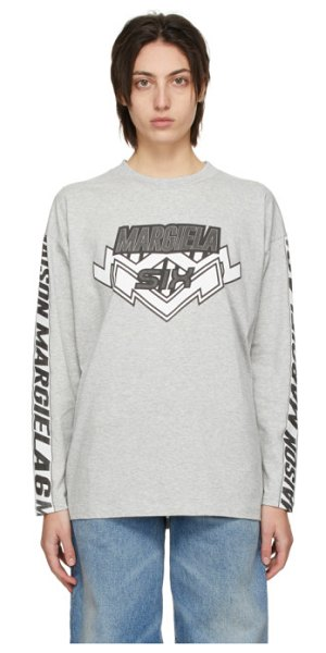 MM6 Maison Margiela grey motocross long sleeve t-shirt in 858m grey