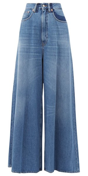 MM6 Maison Margiela high-rise crease-print wide-leg jeans in denim