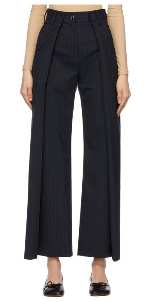 MM6 Maison Margiela navy virgin wool pinstripe trousers in 002f navy