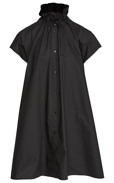 MM6 Maison Margiela ruffle neck poplin shirtdress in black