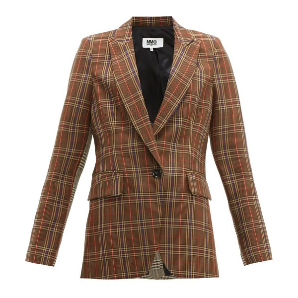 MM6 Maison Margiela single-breasted two-tone checked blazer in brown