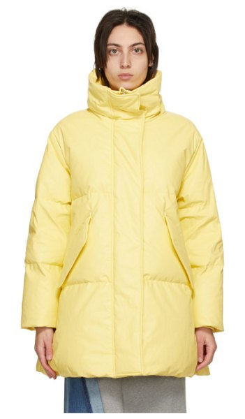 MM6 Maison Margiela yellow down faux-leather coat in 170 yellow