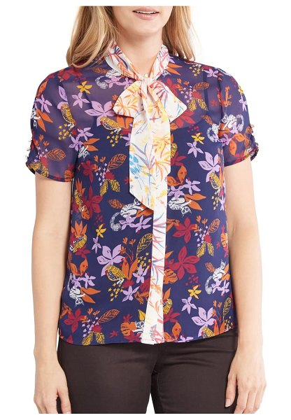 ModCloth floral print tie neck top in navy floral
