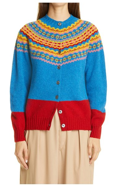 MOLLY GODDARD timmy fair isle wool cardigan in blue fairisle