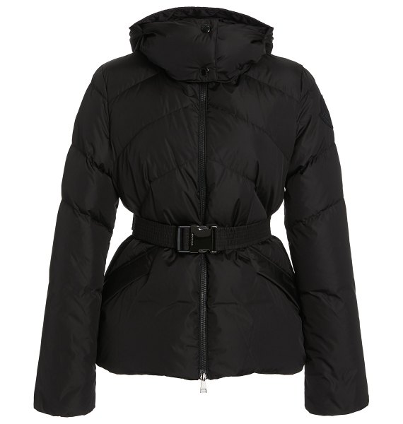 Moncler aloes belted short down hooded puffer coat in black