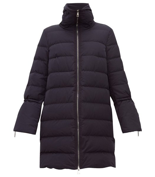 Moncler belia fluted-sleeve quilted-down coat in navy