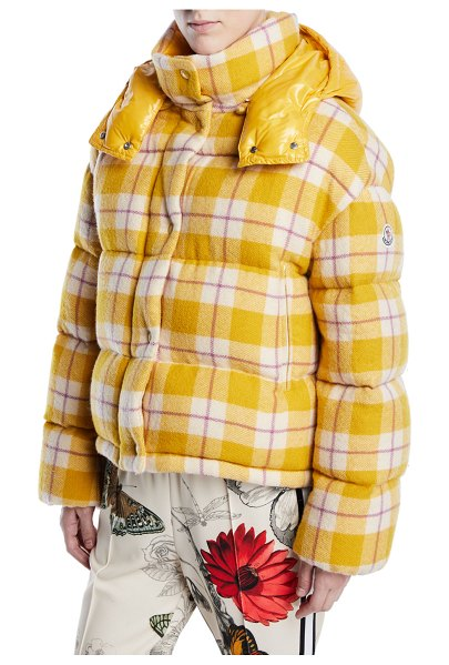 "Moncler Caille Plaid Puffer Coat w/ Removable Hood in yellow - Moncler ""Caille"" puffer jacket in plaid. Stand collar;..."