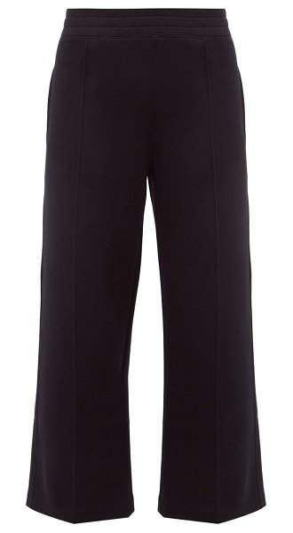 Moncler cotton-blend cropped wide-leg trousers in black