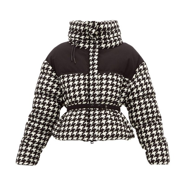 Moncler cropped houndstooth down jacket in black white