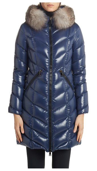 Moncler fulmarus quilted down puffer coat with removable genuine fox fur trim in navy