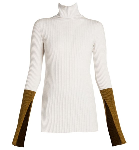 Moncler Genius 2 moncler 1952 ciclista colorblock knit turtleneck sweater in cream