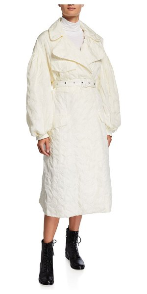 Moncler Genius Dinah Long Embroidered Trench Coat in white