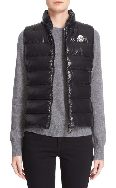 Moncler ghany water resistant shiny nylon down puffer vest in blackdnu