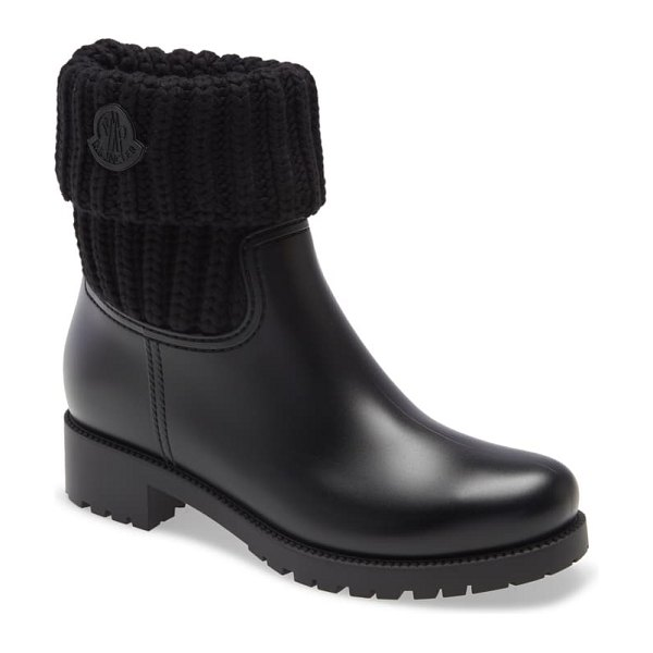 Moncler ginette knit cuff leather rain boot in black