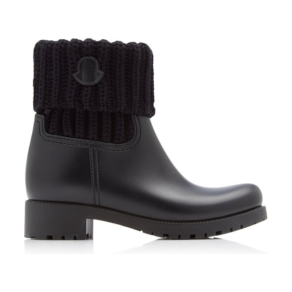 Moncler ginette knit-trimmed leather boots in black