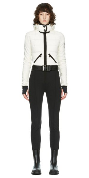 Moncler Grenoble black and white down belted jumpsuit in 049 white