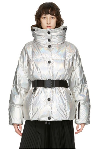 Moncler Grenoble silver down metallic coat in 900 silver
