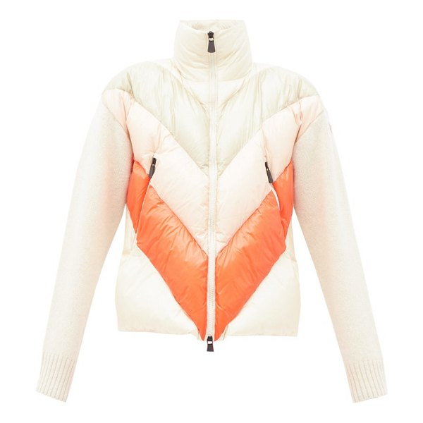 Moncler Grenoble striped knit-sleeve quilted-down jacket in beige multi