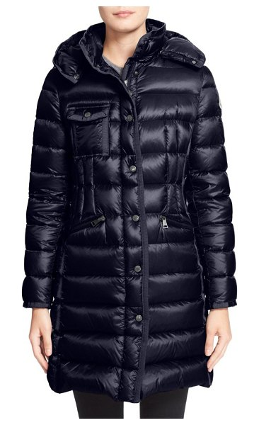 Moncler 'hermine' grosgrain trim water resistant down coat in navy