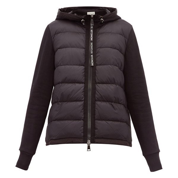 Moncler hooded zip through jacket in black