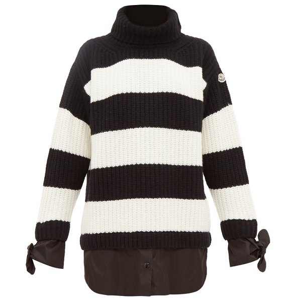 Moncler layered effect roll neck virgin wool sweater in black white